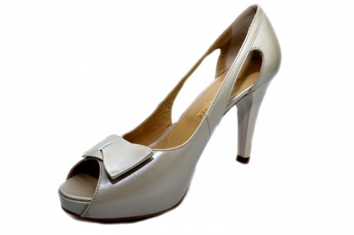 Pantofi Dama Piele Naturala Bej Belle D01325 2