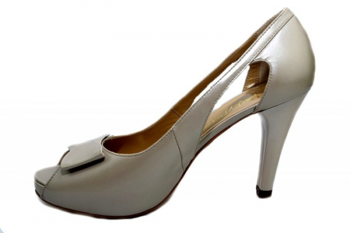 Pantofi Dama Piele Naturala Bej Belle D01325 1