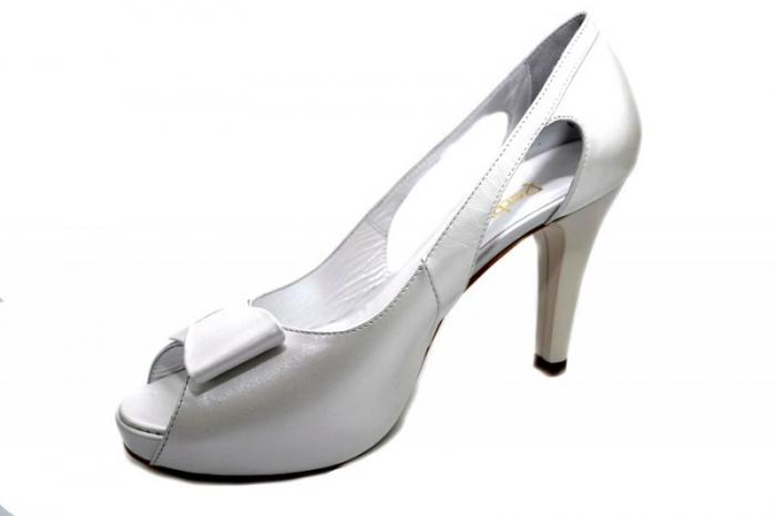 Pantofi Dama Piele Naturala Albi Belle D01327 2