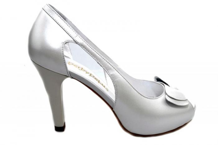 Pantofi Dama Piele Naturala Albi Belle D01327 0