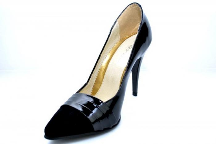 Pantofi cu toc Piele Naturala Negri Brigitte D01110 [3]