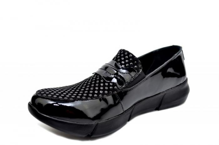 Pantofi Casual Piele Naturala Negri Bryanna D01585 2