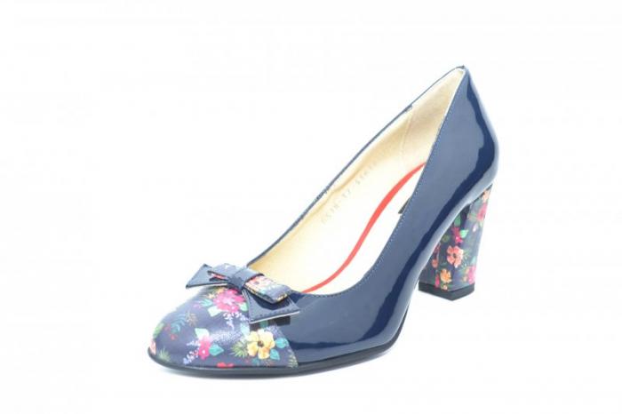 Pantofi cu toc Piele Naturala Bleumarin Cindy D01871 3