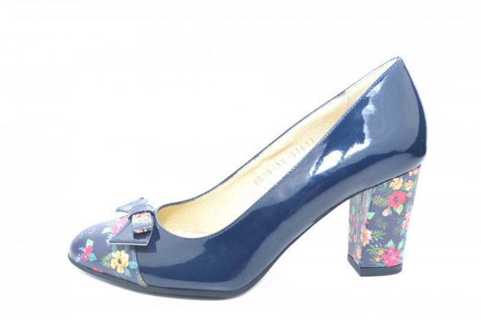 Pantofi cu toc Piele Naturala Bleumarin Cindy D01871 1