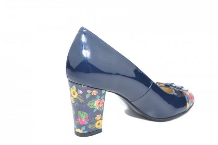 Pantofi cu toc Piele Naturala Bleumarin Cindy D01871 2