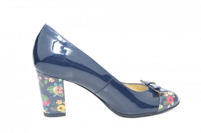 Pantofi cu toc Piele Naturala Bleumarin Cindy D01871 0
