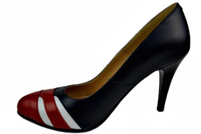 Pantofi cu toc Piele Naturala Bleumarin Corvaris Elsa D01396 1