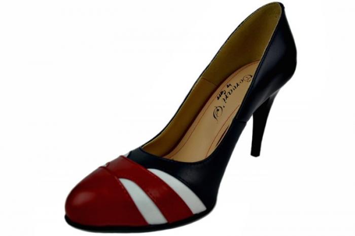 Pantofi cu toc Piele Naturala Bleumarin Corvaris Elsa D01396 2