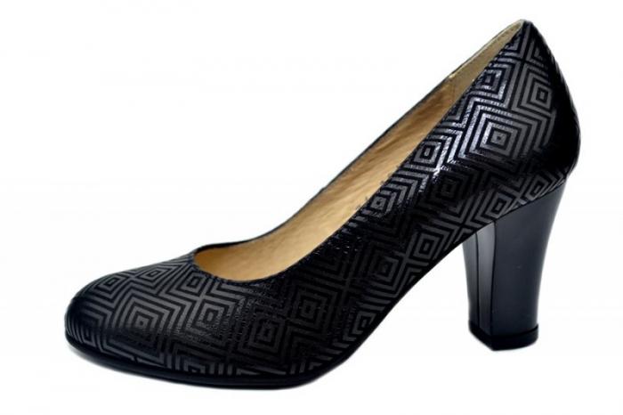 Pantofi cu toc Piele Naturala Negri Dalia D01646 1