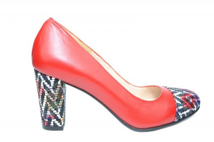 Pantofi cu toc Piele Naturala Rosii Moda Prosper Debora D01903 0