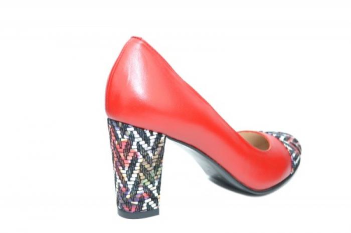 Pantofi cu toc Piele Naturala Rosii Moda Prosper Debora D01903 3