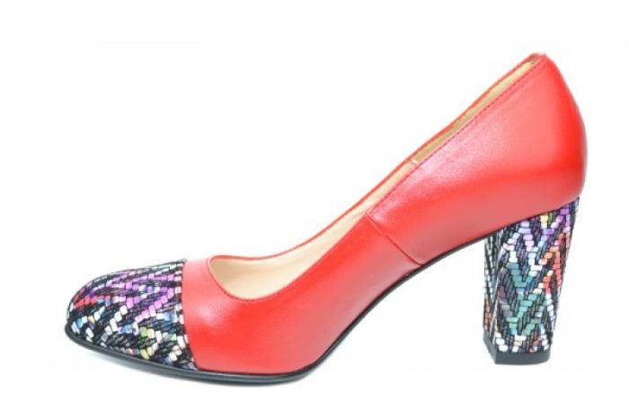 Pantofi cu toc Piele Naturala Rosii Moda Prosper Debora D01903 1
