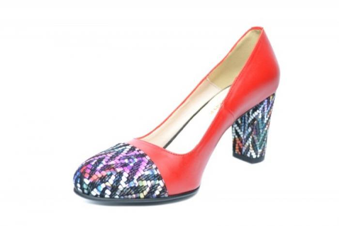 Pantofi cu toc Piele Naturala Rosii Moda Prosper Debora D01903 2
