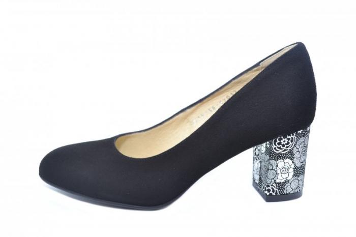 Pantofi cu toc Piele Naturala Negri Denize D01870 1