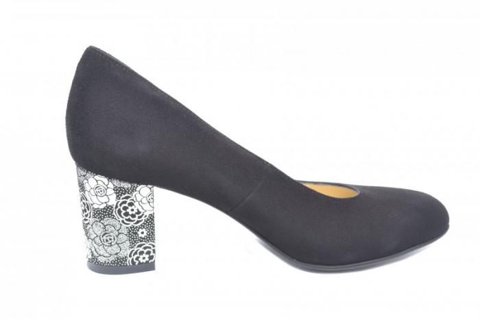 Pantofi cu toc Piele Naturala Negri Denize D01870 0