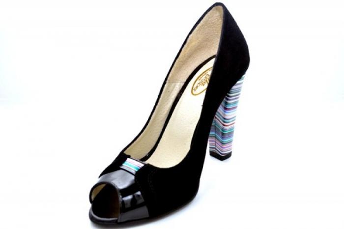 Pantofi cu toc Piele Naturala Negri Moda Prosper Eleonore D01107 3