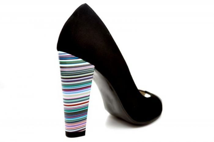 Pantofi cu toc Piele Naturala Negri Moda Prosper Eleonore D01107 2