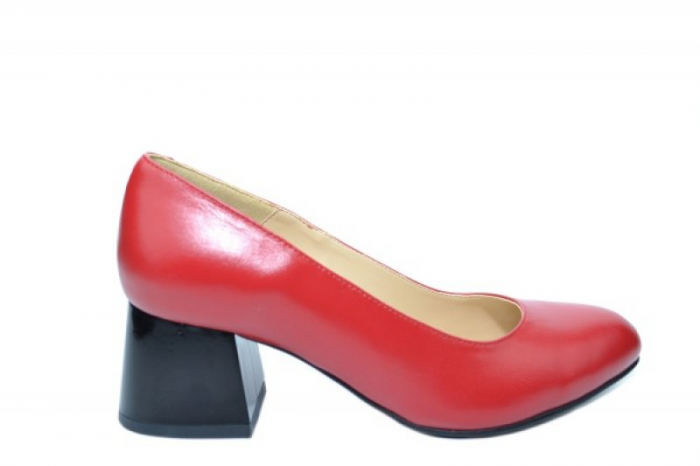 Pantofi cu toc Piele Naturala Rosii Corvaris Fiona D02021 0