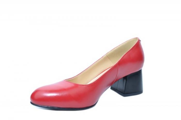 Pantofi cu toc Piele Naturala Rosii Corvaris Fiona D02021 2