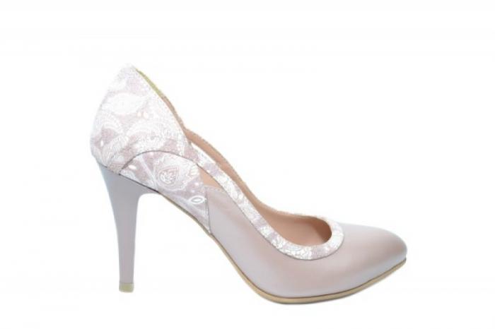 Pantofi cu toc Piele Naturala Nude Moda Prosper Gia D02024 0