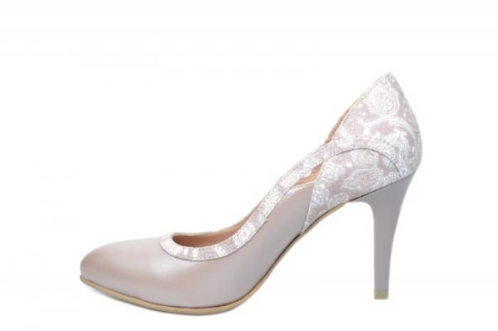 Pantofi cu toc Piele Naturala Nude Moda Prosper Gia D02024 1