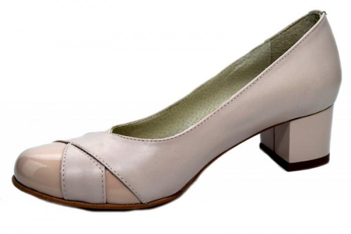 Pantofi cu toc Piele Naturala Bej Giorgia D01303 2