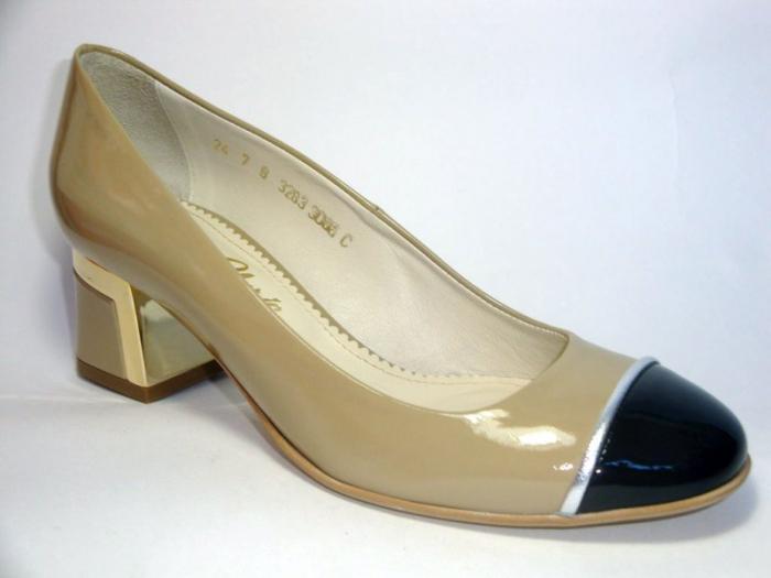 Pantofi cu toc Piele Naturala Guban Bej Tela D00322 3