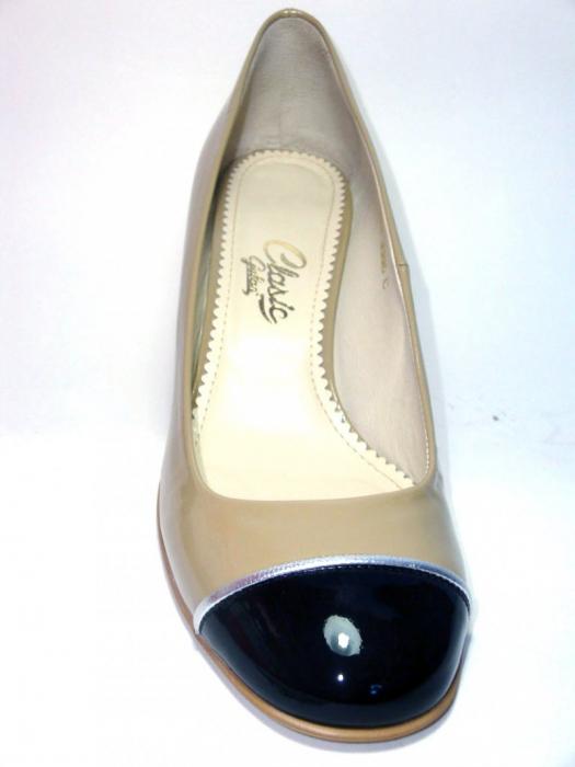 Pantofi cu toc Piele Naturala Guban Bej Tela D00322 4