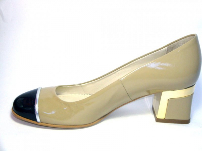 Pantofi cu toc Piele Naturala Guban Bej Tela D00322 1