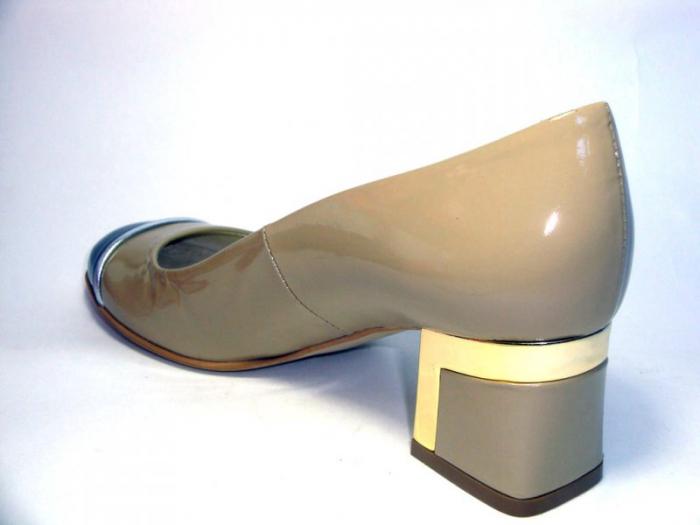Pantofi cu toc Piele Naturala Guban Bej Tela D00322 6