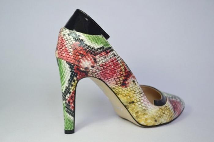 Pantofi cu toc Piele Naturala Guban Multicolori Bena D00646 5