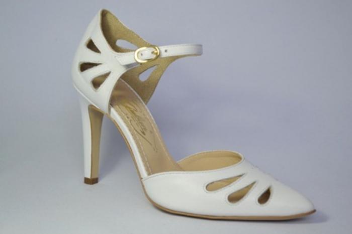 Pantofi Dama Piele Naturala Albi Guban Lenda D00648 3