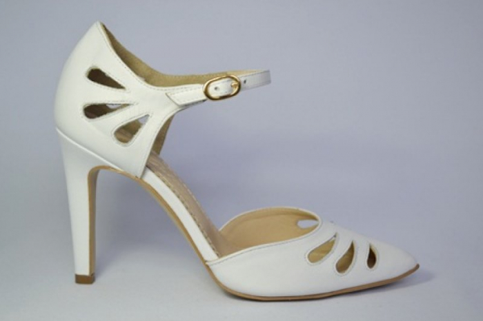 Pantofi Dama Piele Naturala Albi Guban Lenda D00648 0
