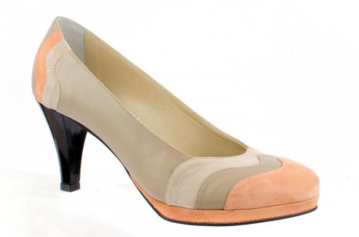 Pantofi cu toc Piele Naturala Guban Bej Vevi D00085 0