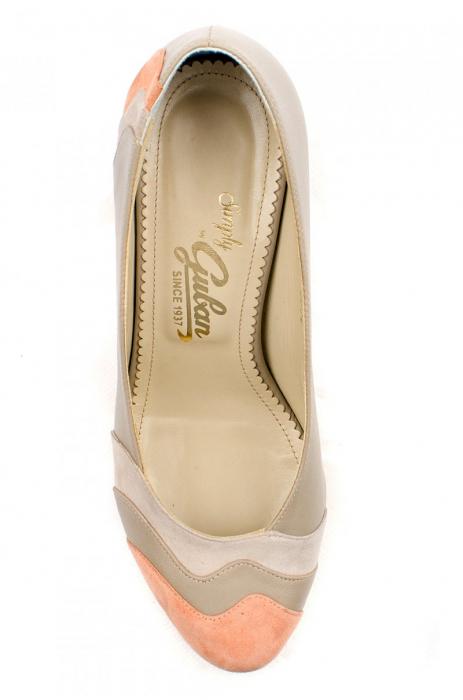 Pantofi cu toc Piele Naturala Guban Bej Vevi D00085 3