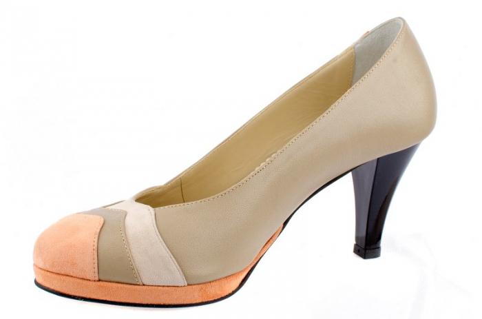 Pantofi cu toc Piele Naturala Guban Bej Vevi D00085 1