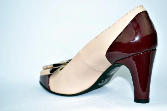 Pantofi cu toc Piele Naturala Guban Nude Vechi D00912 5
