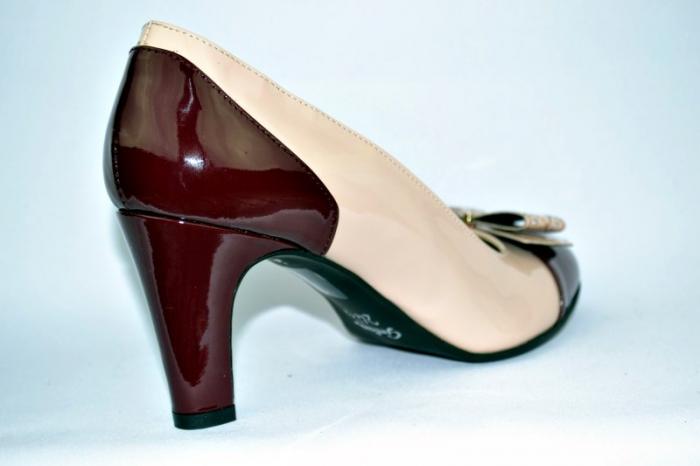 Pantofi cu toc Piele Naturala Guban Nude Vechi D00912 4