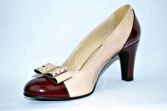 Pantofi cu toc Piele Naturala Guban Nude Vechi D00912 2