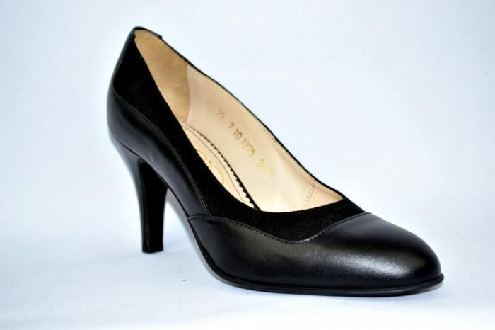 Pantofi cu toc Piele Naturala Negri Guban D00913 0