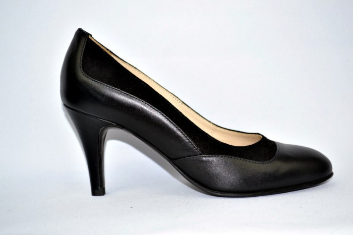 Pantofi cu toc Piele Naturala Negri Guban D00913 2