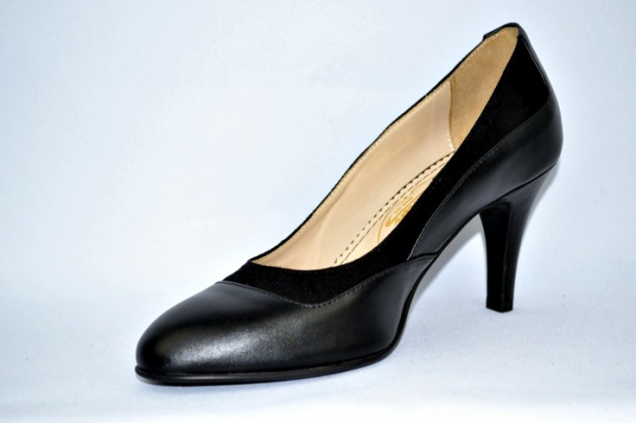 Pantofi cu toc Piele Naturala Negri Guban D00913 3