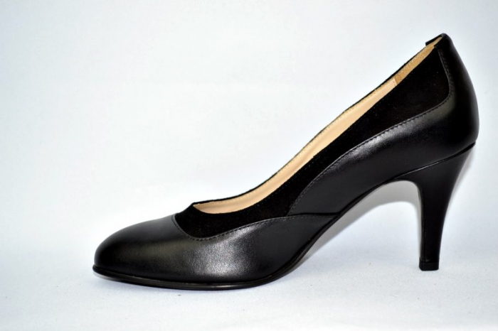 Pantofi cu toc Piele Naturala Negri Guban D00913 5