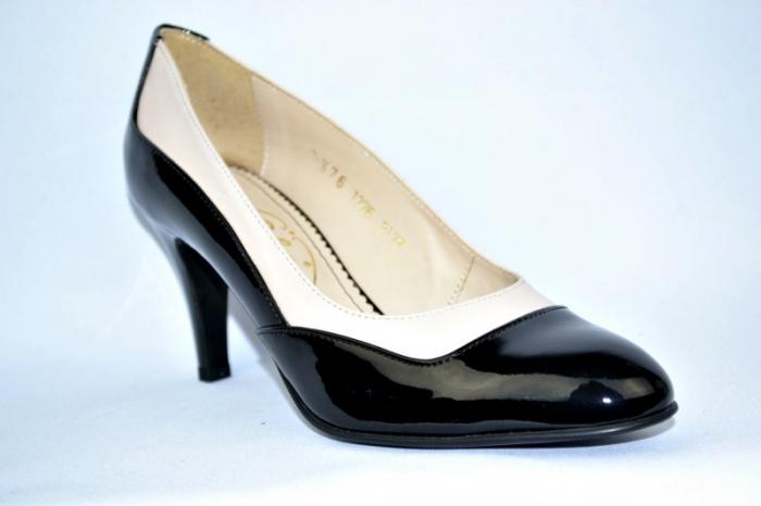 Pantofi cu toc Piele Naturala Guban Negri Veve D00914 3