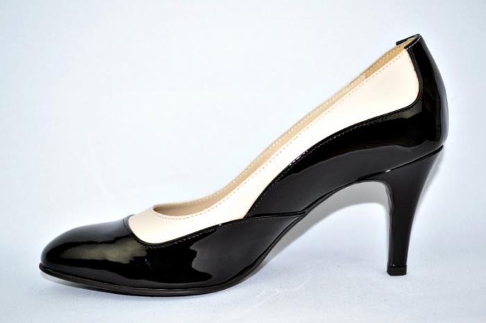 Pantofi cu toc Piele Naturala Guban Negri Veve D00914 1