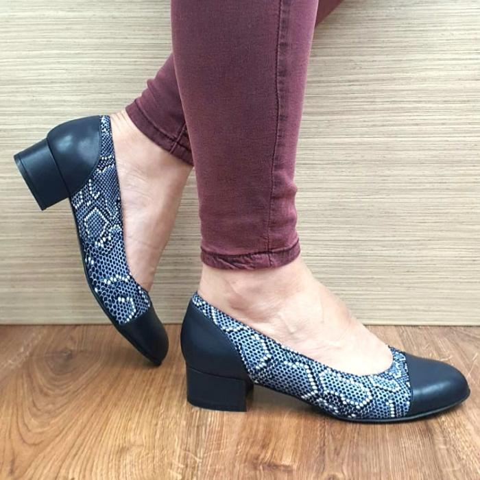 Pantofi cu toc Piele Naturala Bleumarin Guban Bega D01727 0