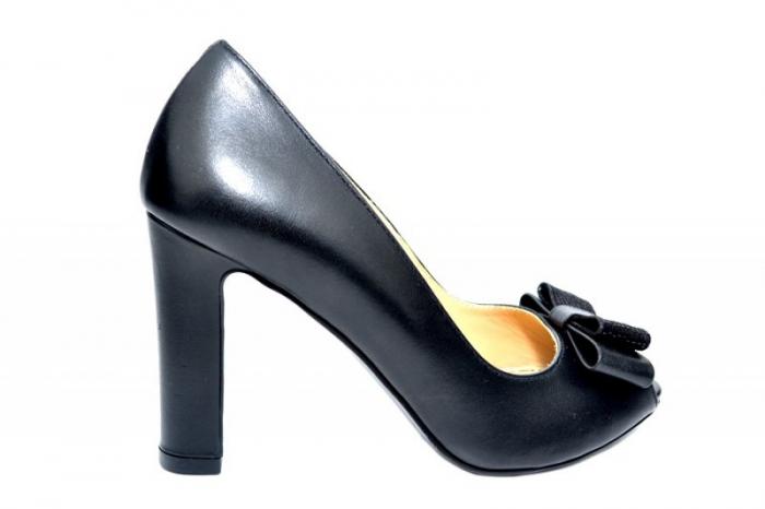 Pantofi cu toc Piele Naturala Negri Guban Bruna D01815 0
