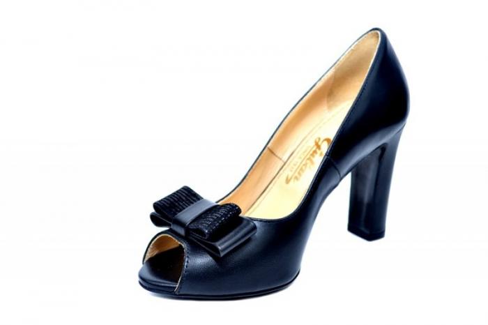 Pantofi cu toc Piele Naturala Negri Guban Bruna D01815 2