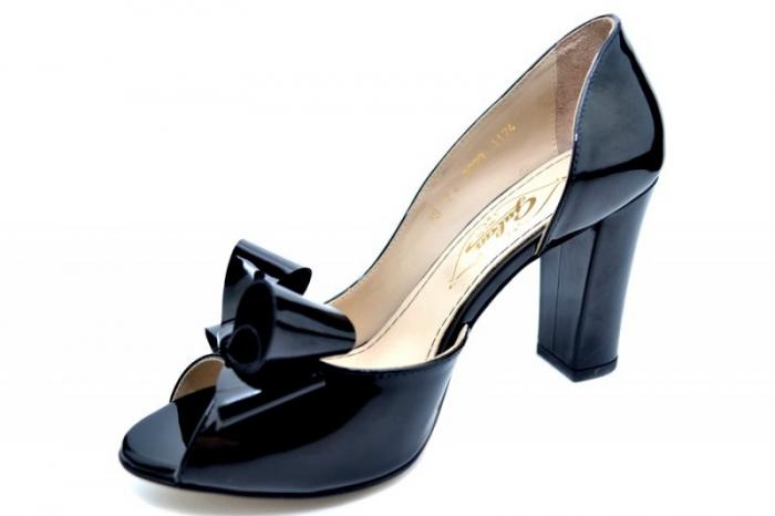 Pantofi cu toc Piele Naturala Negri Guban Cleopatra D01553 2