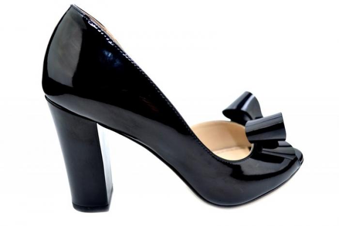 Pantofi cu toc Piele Naturala Negri Guban Cleopatra D01553 0